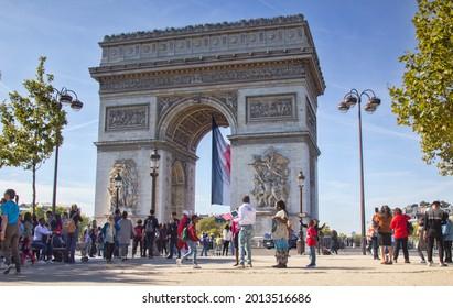 Paris, France - September 24, 2017: tourists and citizens at the Arc de Triomphe