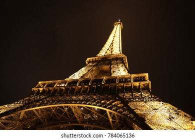 PARIS, FRANCE - SEPTEMBER 25, 2017: Light Performance of Eiffel tower at night. Eiffel tower is a global cultural icon of France and one of the most recognisable structures in the World.