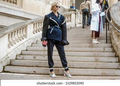 PARIS, FRANCE - SEPTEMBER 25, 2019: Caroline Daur seen outside MAISON MARGIELA show, during Paris Fashion Week Womenswear Spring/Summer 2020.