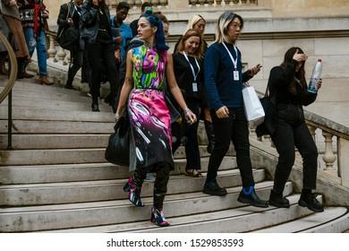 PARIS, FRANCE - SEPTEMBER 25, 2019: Sita Abellan seen on the exit of the MAISON MARGIELA show, during Paris Fashion Week Womenswear Spring/Summer 2020.