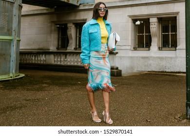 PARIS, FRANCE - SEPTEMBER 25, 2019: Camila Coelho seen outside MAISON MARGIELA show, during Paris Fashion Week Womenswear Spring/Summer 2020.