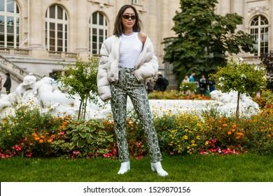 PARIS, FRANCE - SEPTEMBER 25, 2019:  Aimee Song seen before MAISON MARGIELA show, during Paris Fashion Week Womenswear Spring/Summer 2020.
