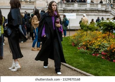 PARIS, FRANCE - SEPTEMBER 25, 2019: Erika Boldrin seen outside MAISON MARGIELA show, during Paris Fashion Week Womenswear Spring/Summer 2020.