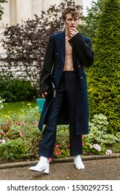 PARIS, FRANCE - SEPTEMBER 25, 2019: Model Lucky Blue Smith seen outside MAISON MARGIELA show, during Paris Fashion Week Womenswear Spring/Summer 2020.