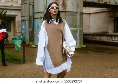 PARIS, FRANCE - SEPTEMBER 25, 2019: Yuwei Zhangzou seen outside MAISON MARGIELA show, during Paris Fashion Week Womenswear Spring/Summer 2020.