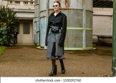 PARIS, FRANCE - SEPTEMBER 25, 2019: Madelyn Furlong seen outside MAISON MARGIELA show, during Paris Fashion Week Womenswear Spring/Summer 2020.
