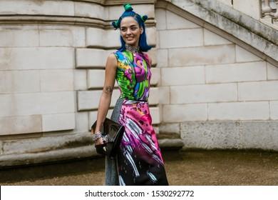 PARIS, FRANCE - SEPTEMBER 25, 2019: Sita Abellan seen outside MAISON MARGIELA show, during Paris Fashion Week Womenswear Spring/Summer 2020.