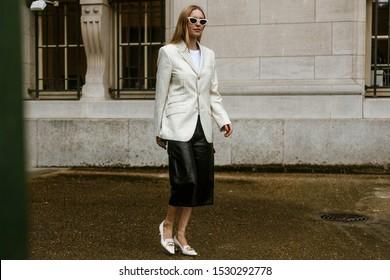 PARIS, FRANCE - SEPTEMBER 25, 2019: Pernille Teisbaek seen outside MAISON MARGIELA show, during Paris Fashion Week Womenswear Spring/Summer 2020.