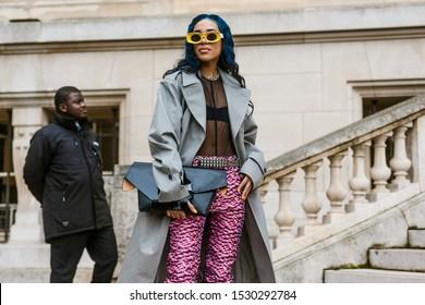 PARIS, FRANCE - SEPTEMBER 25, 2019: Aleali May seen outside MAISON MARGIELA show, during Paris Fashion Week Womenswear Spring/Summer 2020.