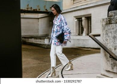 PARIS, FRANCE - SEPTEMBER 25, 2019: Anny Fan seen exiting MAISON MARGIELA show, during Paris Fashion Week Womenswear Spring/Summer 2020.