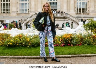 PARIS, FRANCE - SEPTEMBER 25, 2019: Blanca Miro Scrimieri Outside MAISON MARGIELA show, during Paris Fashion Week Womenswear Spring/Summer 2020.