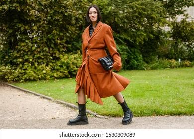 PARIS, FRANCE - SEPTEMBER 25, 2019: Tiffany Hsu seen outside MAISON MARGIELA show, during Paris Fashion Week Womenswear Spring/Summer 2020.