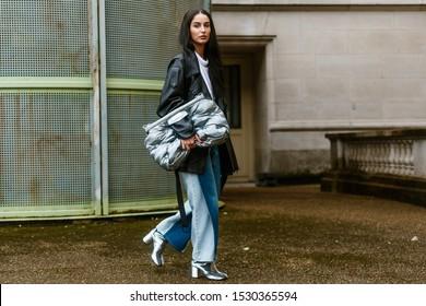 PARIS, FRANCE - SEPTEMBER 25, 2019: A guest seen outside MAISON MARGIELA show, during Paris Fashion Week Womenswear Spring/Summer 2020.