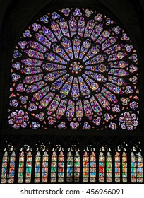 PARIS, FRANCE -  SEPTEMBER 26, 2015: The North Rose window at Notre Dame Cathedral (constructed in 1250 and reached 12.9 meters in diameter), in Paris, September 26, 2015.