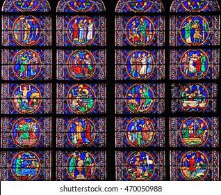 PARIS, FRANCE - SEPTEMBER 26, 2015: Staned glass window at Notre Dame de Paris Cathedral in Paris, France .