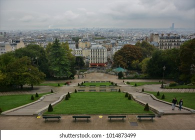 PARIS, FRANCE - SEPTEMBER 26, 2017: The stairs at the entrance of Sacre-Coeur Basilica and the cityscape of Paris