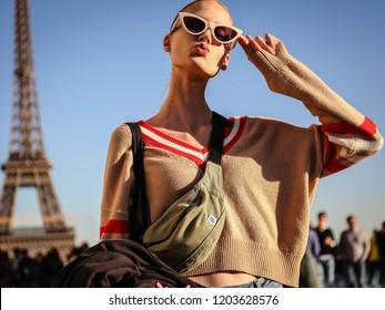 PARIS, France- September 26 2018: Alina Egorova on the street during the Paris Fashion Week.