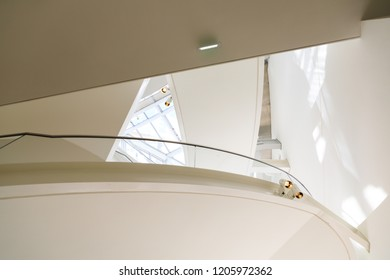 Paris, France - September 26 2018: Interior of the modern glass building of Louis Vuitton Foundation