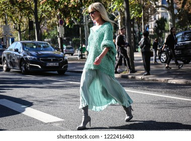 PARIS, France- September 26 2018: Jeanette Friis Madsen on the street during the Paris Fashion Week.