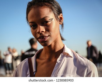 PARIS, France- September 26 2018: Model Aaliyah Hydes on the street during the Paris Fashion Week.