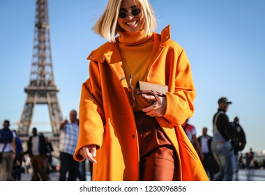 PARIS, France- September 26 2018: Xenia Van Der Woodsen on the street during the Paris Fashion Week.