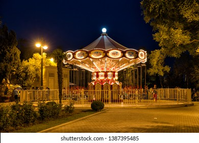 Paris, France - September 26. 2018: Childrens roundabout with illumination