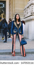 Paris, France- September 26, 2018: Ymeneka Chaou on the street during the Paris Fasion Week, wearing Eddine Belmahdi Collection.