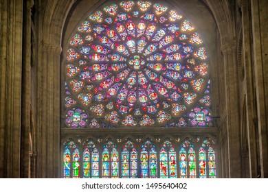 PARIS, FRANCE - SEPTEMBER 26, 2018 North Rose stained glass window of cathedral Notre-Dame de Paris before fire April 15, 2019. Paris, France