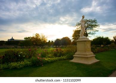 PARIS, FRANCE - SEPTEMBER 26: Autumnal Paris - Tuileries garden on September 26, 2017 in Paris, France.