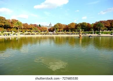 PARIS, FRANCE - SEPTEMBER 26: Luxembourg Gardens on September 26, 2017 in Paris, France.