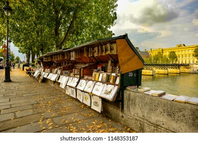 PARIS, FRANCE - SEPTEMBER 26: Seine-Side Traditional Booksellers in Paris on September 26, 2017 in Paris, France.