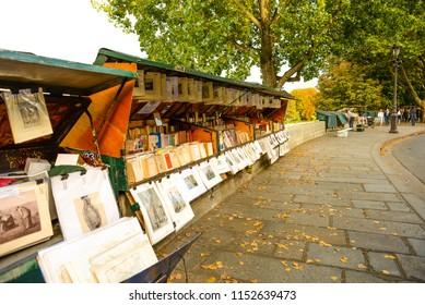 PARIS, FRANCE - SEPTEMBER 26: Seine-Side Traditional Booksellers in Paris on September 26, 2017 in Paris, France.