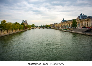PARIS, FRANCE - SEPTEMBER 26: Walking Over the Seine in Paris on September 26, 2017 in Paris, France.