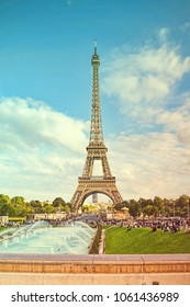 PARIS, FRANCE - SEPTEMBER 27, 2015: The Eiffel Tower with fountains at Trocadero in Paris, France in autumn