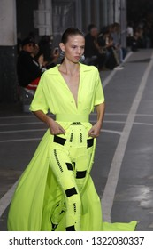 PARIS, FRANCE - SEPTEMBER 27: Julia Merkelbach walks the runway during the Off-White show as part of Paris Fashion Week Womenswear Spring/Summer 2019 on September 27, 2018 in Paris, France.
