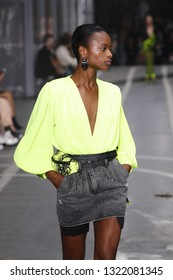 PARIS, FRANCE - SEPTEMBER 27: Mayowa Nicholas walks the runway during the Off-White show as part of Paris Fashion Week Womenswear Spring/Summer 2019 on September 27, 2018 in Paris, France.