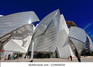 Paris / France - September 28 2015 : Fondation Louis Vuitton the art and culture museum in Paris designed by Frank Gehry
