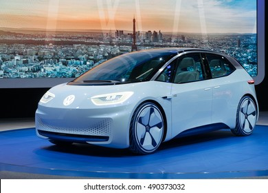 PARIS, FRANCE - SEPTEMBER 28, 2016: World premiere of the I.D. concept car, on the Paris Motor Show, starts the countdown to a new era for Volkswagen. It's planed to hit the road in 2020.
