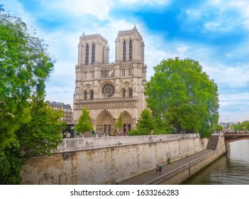 Paris, France - September 28, 2017: Notre Dame Cathedral (Notre Dame de Paris) is a Catholic church in the center of Paris on the island of Cité, one of the symbols of the French capital.