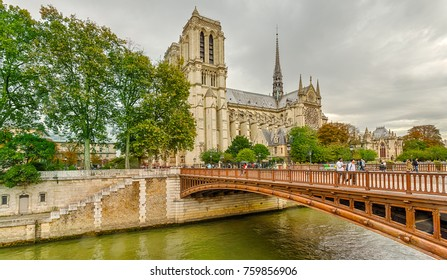 Paris, France - September 28, 2017: Notre Dame Cathedral or Notre-Dame de Paris - a Catholic church in the center of Paris, one of the symbols of the French capital.