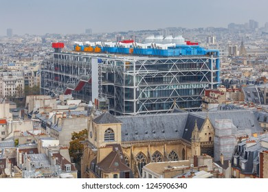 Paris, France - September 28, 2018: The modern building of the Georges Pompidou National Center Art and Culture.
