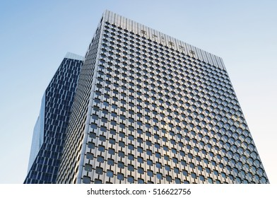 PARIS, FRANCE - SEPTEMBER 29, 2015: Tour Ariane is an office skyscraper located in La Defense business district in Paris, France