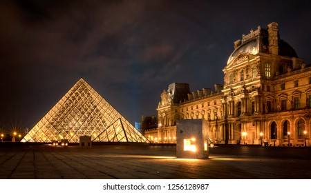 PARIS, FRANCE - SEPTEMBER 29, 2016: The Louvre at night is one of the world's largest museums in Paris in a summer night
