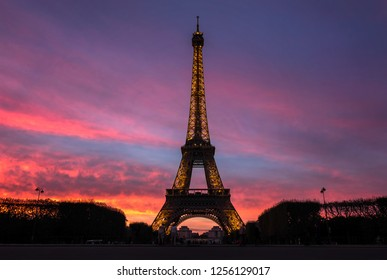 PARIS, FRANCE - SEPTEMBER 29 2016: Night scene of illuminated Eiffel Tower and panoramic aerial view of Paris, France