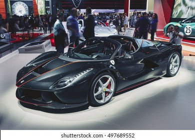Paris, France - September 29, 2016: 2017 Ferrari LaFerrari Aperta presented on the Paris Motor Show in the Porte de Versailles