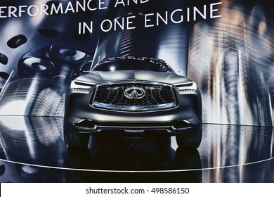Paris, France - September 29, 2016: 2016 Infiniti QX Sport Inspiration Concept presented on the Paris Motor Show in the Porte de Versailles