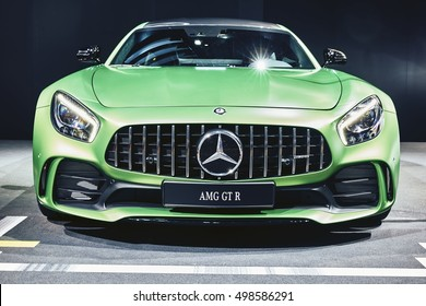 Paris, France - September 29, 2016: 2017 Mercedes-AMG GT R presented on the Paris Motor Show in the Porte de Versailles