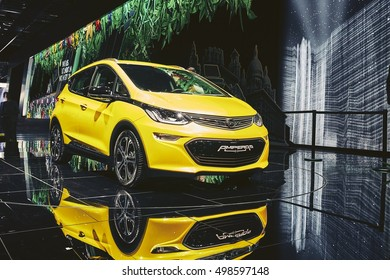 Paris, France - September 29, 2016: 2017 Opel Ampera-e presented on the Paris Motor Show in the Porte de Versailles