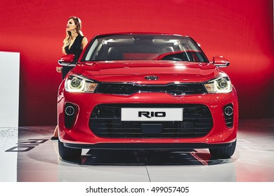 Paris, France - September 29, 2016: 2017 KIA Rio presented on the Paris Motor Show in the Porte de Versailles