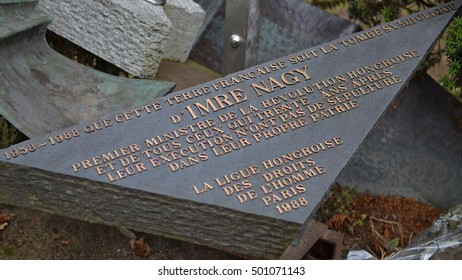 PARIS, FRANCE - SEPTEMBER 29, 2016: monument of Ime Nagy on Pere Lachaise Cemetery in Paris. Imre Nagy was a Hungarian prime minister, politician in 1956 and he was executed during the revolution